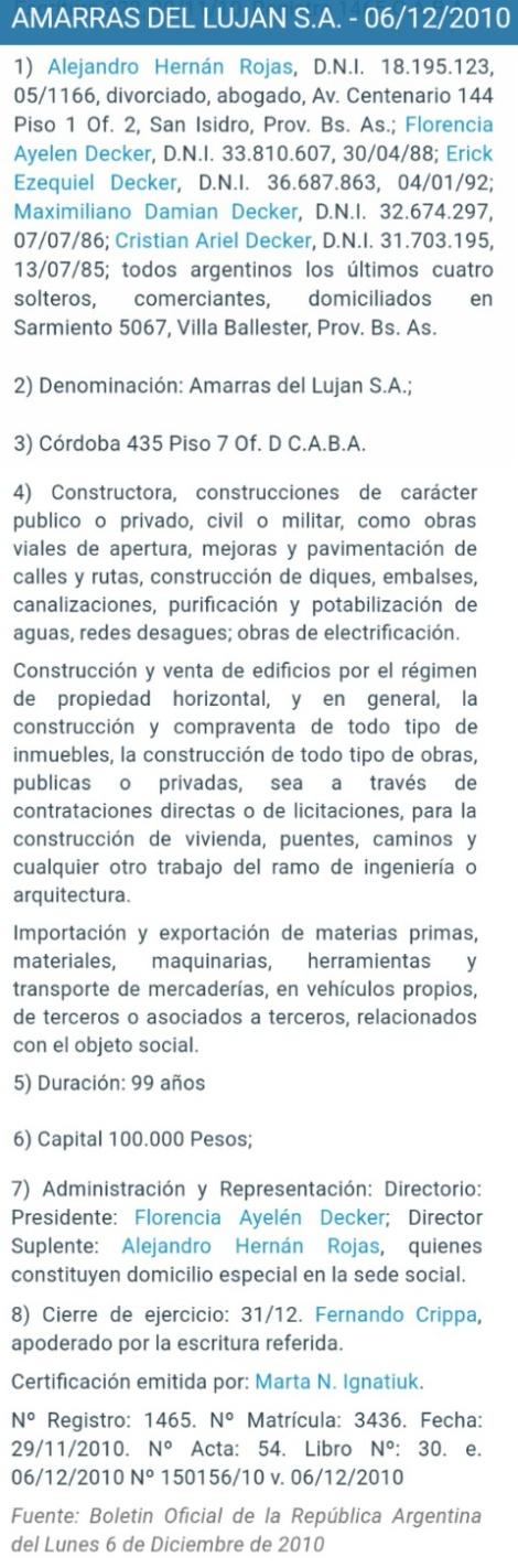 Empresa de Alejandro Rojas, armador y abogado de Abregu