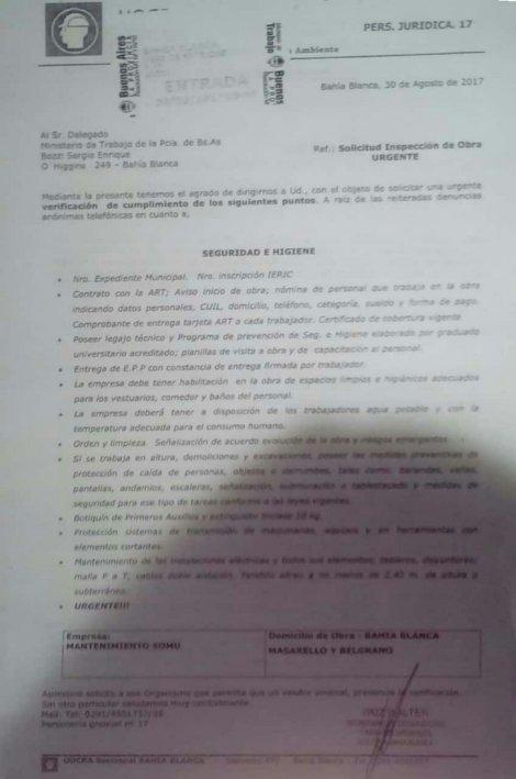 Intimación de la UOCRA de Bahia Blanca para regularizar las condiciones laborales a cargo de la Empresa